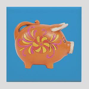 Vintage Toy Pig Art Tile Drink Coaster