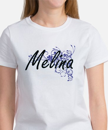 Melina Artistic Name Design with Flowers T-Shirt