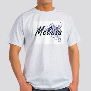 Melissa Artistic Name Design with Flowers T-Shirt
