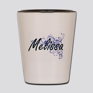 Melissa Artistic Name Design with Flowe Shot Glass