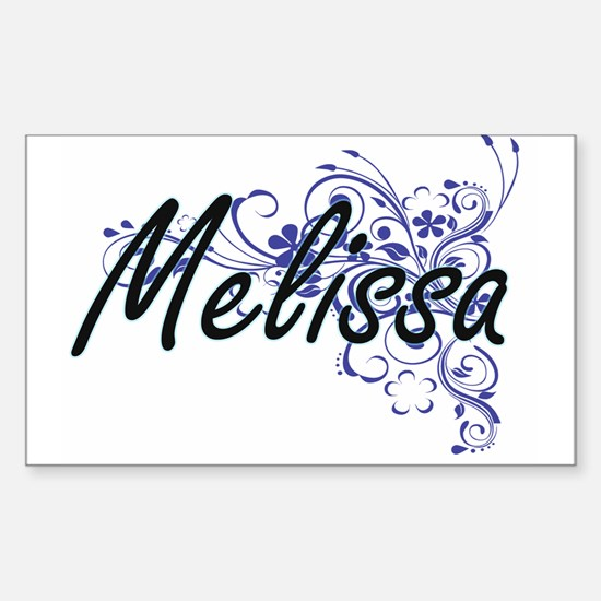 Melissa Artistic Name Design with Flowers Decal