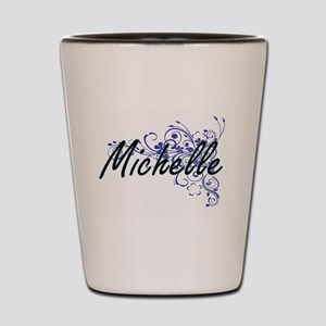 Michelle Artistic Name Design with Flow Shot Glass