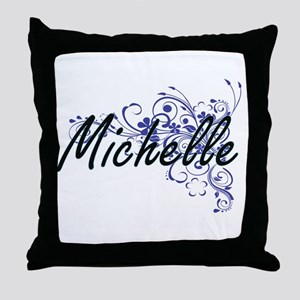 Michelle Artistic Name Design with Fl Throw Pillow