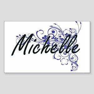 Michelle Artistic Name Design with Flowers Sticker