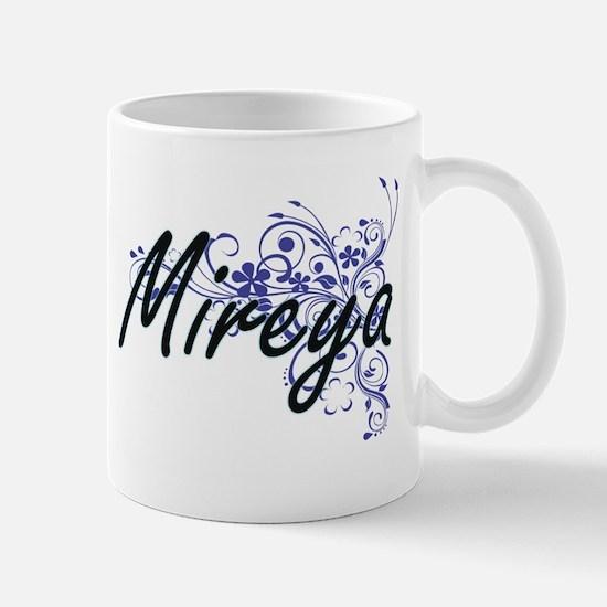 Mireya Artistic Name Design with Flowers Mugs