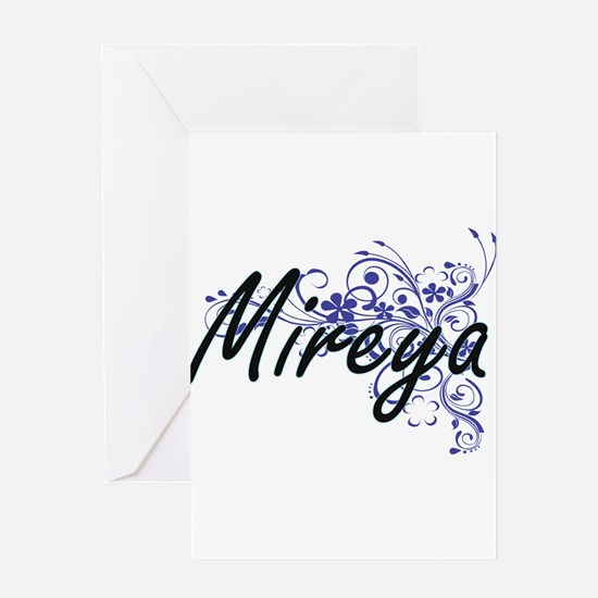 Mireya Artistic Name Design with Fl Greeting Cards
