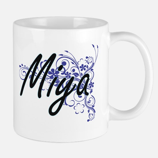 Miya Artistic Name Design with Flowers Mugs