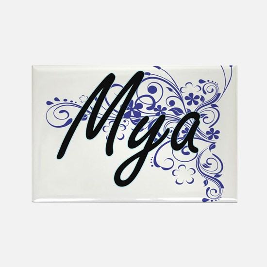Mya Artistic Name Design with Flowers Magnets