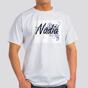 Nadia Artistic Name Design with Flowers T-Shirt