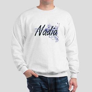 Nadia Artistic Name Design with Flowers Sweatshirt
