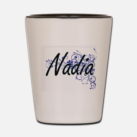 Nadia Artistic Name Design with Flowers Shot Glass