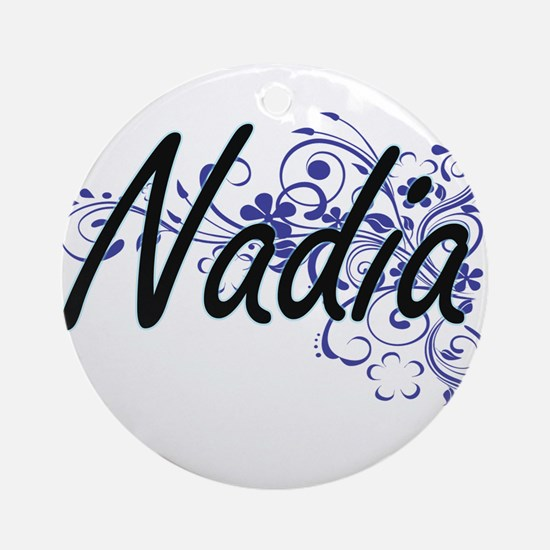 Nadia Artistic Name Design with Flo Round Ornament