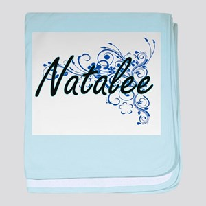Natalee Artistic Name Design with Flo baby blanket