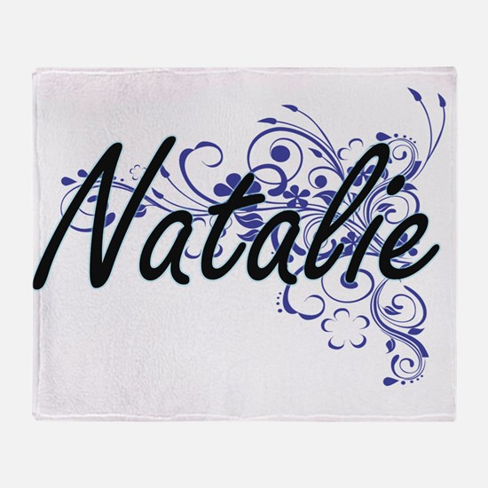 Natalie Artistic Name Design with Fl Throw Blanket