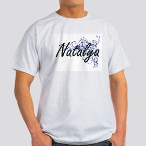 Natalya Artistic Name Design with Flowers T-Shirt