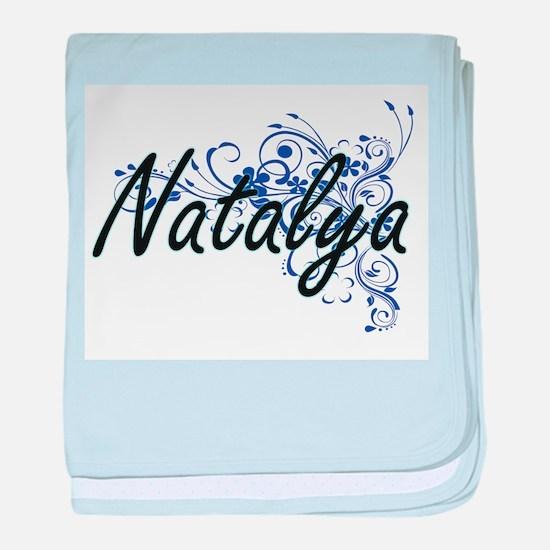Natalya Artistic Name Design with Flo baby blanket