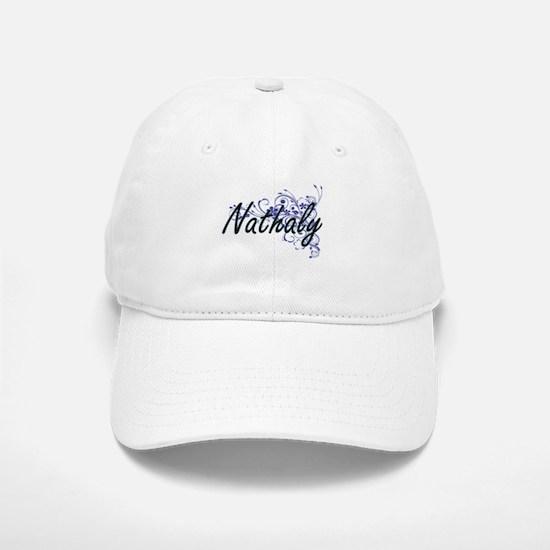 Nathaly Artistic Name Design with Flowers Baseball Baseball Cap