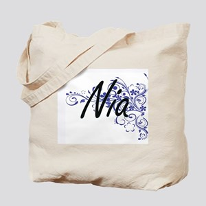 Nia Artistic Name Design with Flowers Tote Bag
