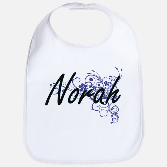 Norah Artistic Name Design with Flowers Bib