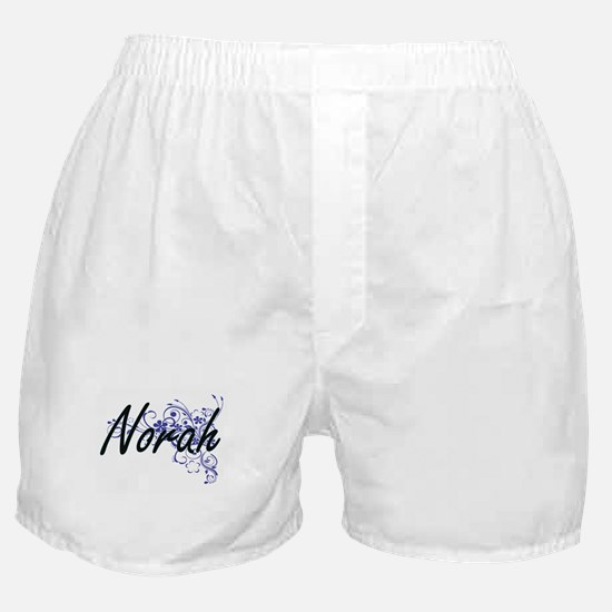 Norah Artistic Name Design with Flowe Boxer Shorts