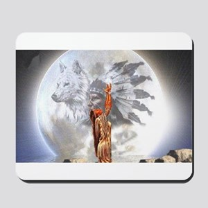 The Moon Vision Chief Wolf Indian Girl Mousepad