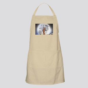 The Moon Vision Chief Wolf Indian Girl Apron