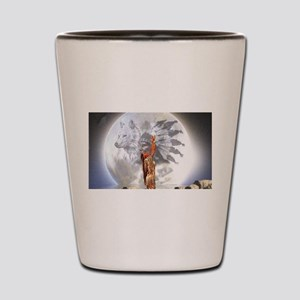 The Moon Vision Chief Wolf Indian Girl Shot Glass