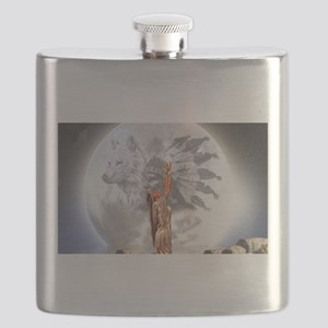 The Moon Vision Chief Wolf Indian Girl Flask