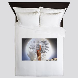 The Moon Vision Chief Wolf Indian Girl Queen Duvet