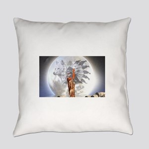 The Moon Vision Chief Wolf Indian Everyday Pillow