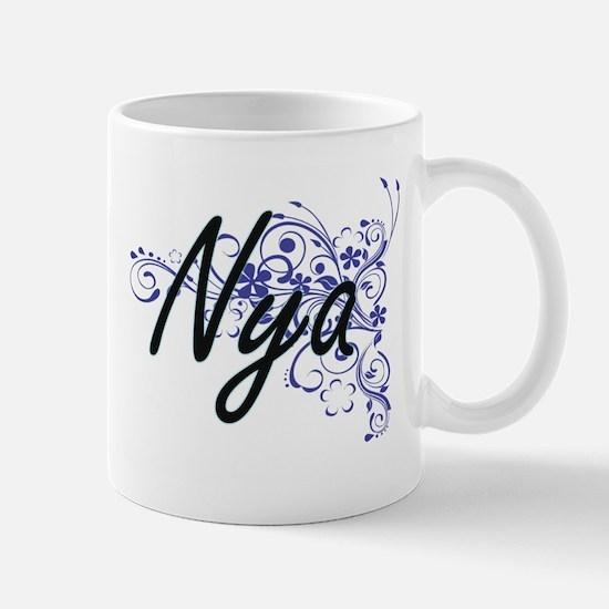 Nya Artistic Name Design with Flowers Mugs