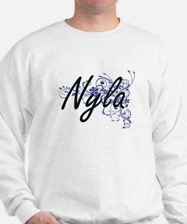 Nyla Artistic Name Design with Flowers Sweater