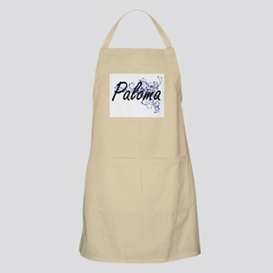 Paloma Artistic Name Design with Flowers Apron
