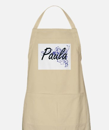 Paula Artistic Name Design with Flowers Apron