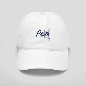Paula Artistic Name Design with Flowers Cap