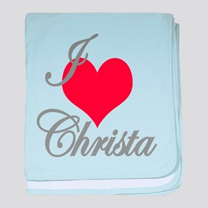 I love (heart) Christa baby blanket