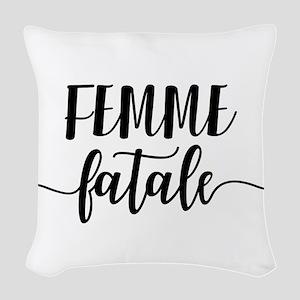 femme fatale Woven Throw Pillow
