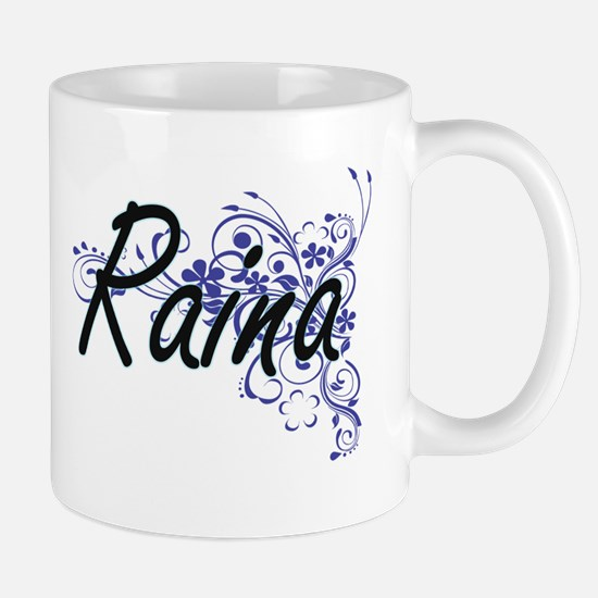 Raina Artistic Name Design with Flowers Mugs