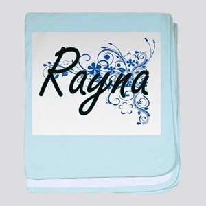Rayna Artistic Name Design with Flowe baby blanket