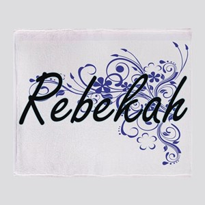 Rebekah Artistic Name Design with Fl Throw Blanket