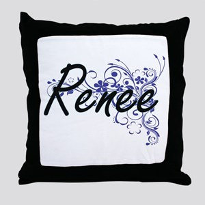 Renee Artistic Name Design with Flowe Throw Pillow