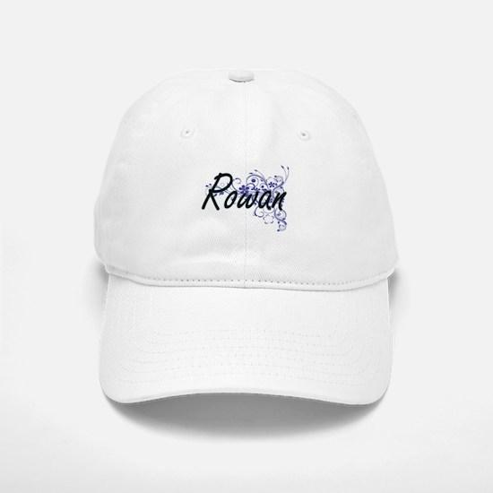 Rowan Artistic Name Design with Flowers Baseball Baseball Cap