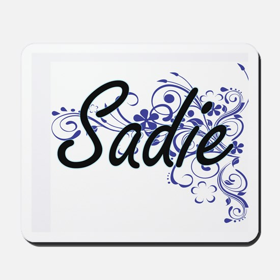 Sadie Artistic Name Design with Flowers Mousepad