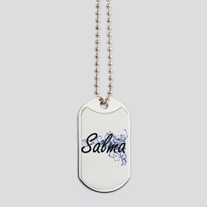 Salma Artistic Name Design with Flowers Dog Tags