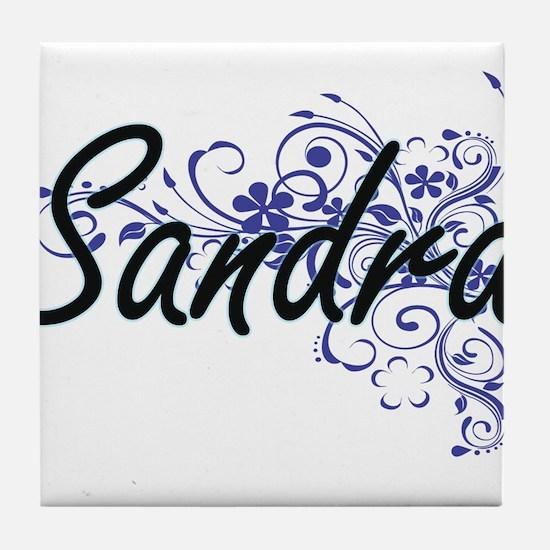 Sandra Artistic Name Design with Flow Tile Coaster