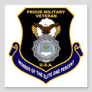 "USAF Security Forces Square Car Magnet 3"" x 3"""