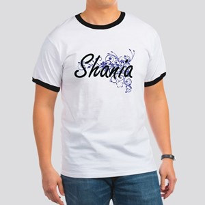 Shania Artistic Name Design with Flowers T-Shirt