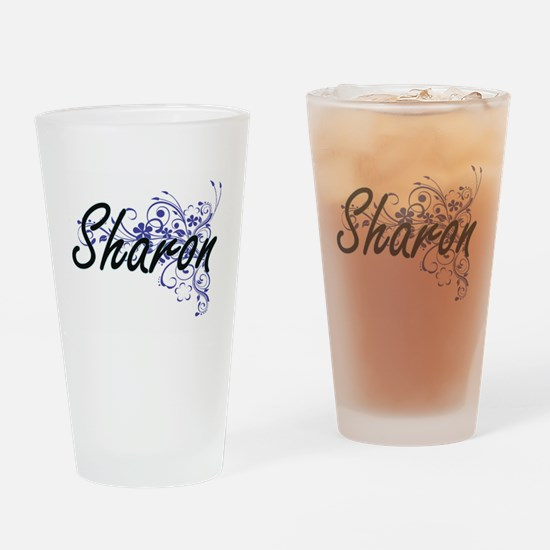 Sharon Artistic Name Design with Fl Drinking Glass