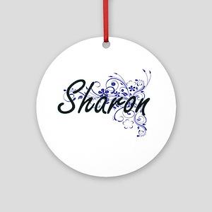 Sharon Artistic Name Design with Fl Round Ornament