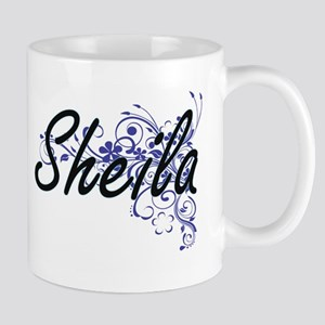 Sheila Artistic Name Design with Flowers Mugs